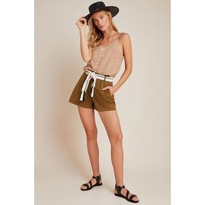 ANTHROPOLOGIE Shorts Olive Kelyn Pleated City Sz 4